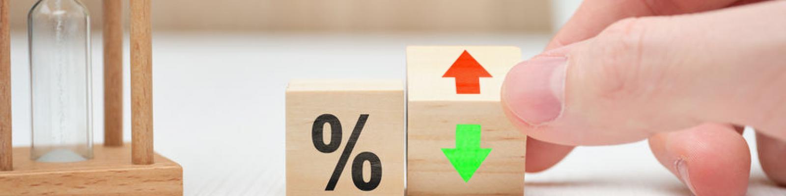 percentage teken rode pijl zandloper