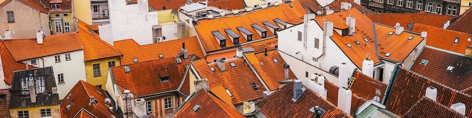 luchtfoto daken huizen