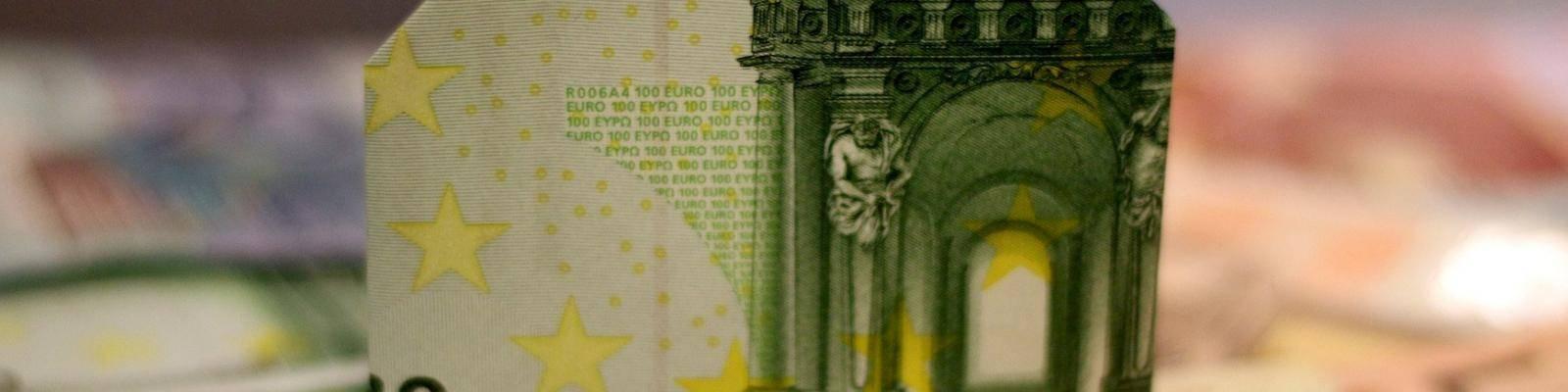 Euro briefgeld gevouwen